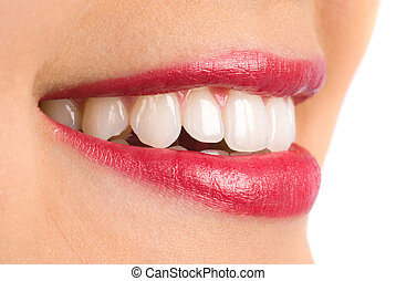 Toothy smile - Woman with perfect teeth and a beautiful...