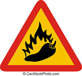Hot pepper sign - Triangle warning sign with a pepper and...