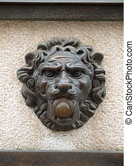 antique door bell - antique venetian door bell with a lion...