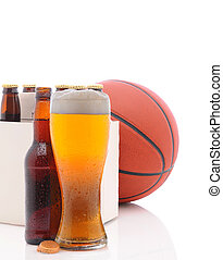 Basketball Six Pack and Glass of Beer