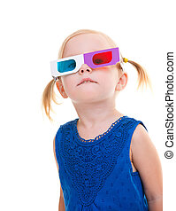 Toddler girl wearing 3D glasses - Adorable toddler girl...