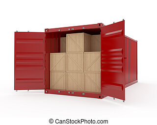 Cargo - 3d render of opened cargo container with wooden...