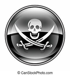 Pirate icon black, isolated on white background