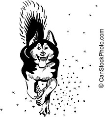 vector dog Alaskan Malamute breed - black and white sketch...