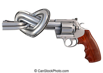 revolver with the barrel tied in a heart-shaped. isolated on...