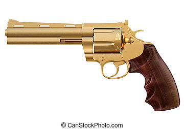 revolver - golden revolver. isolated on white.