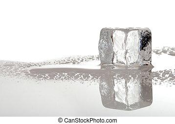 melting ice cube - single melting ice cube