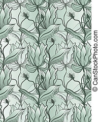 vector seamless background with abstract flowers