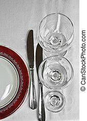 tableware for dinner in restourant