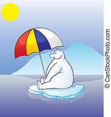 Polar Bear with umbrella - Vector illustration of a polar...