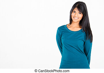 casual indian woman on white background