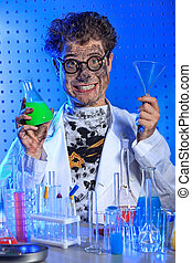 research - Medical theme: funny crazy scientist is working...