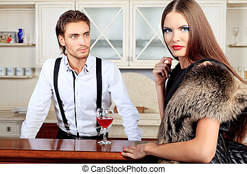 bar - Portrait of a handsome fashionable man with charming...