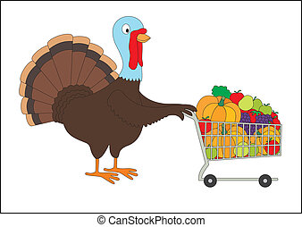 Thanksgiving fat turkey with shopping cart full of groceries. Isolated on white background.