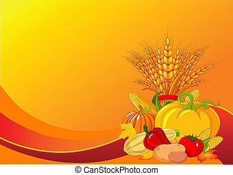 Thanksgiving harvest background - Seasonal design with plump...