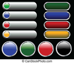 web glossy buttons - Collection of web glossy buttons -...
