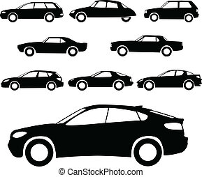 Cars silhouettes collection - vector