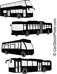Buses collection - vector