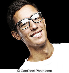 young man - portrait of young man smiling with glasses...
