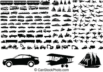 transportation set - Over 100 transportation silhouettes -...