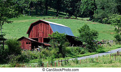 old barn on hill in carolinas