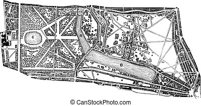 Hyde Park and Kensington Gardens environs vintage engraving...