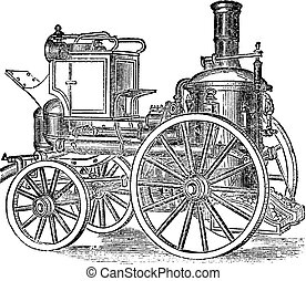 Steam Fire Engine, vintage engraving - Steam Fire Engine,...