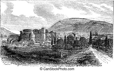 The ruins of Pergamon or Pergamum in Turkey vintage engraving