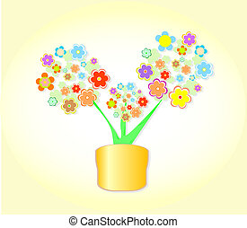 Abstract Flower In Pot, Flowerpot Background