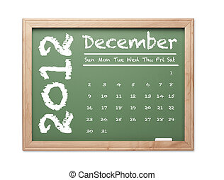December 2012 Calendar on Green Chalkboard - Month of...