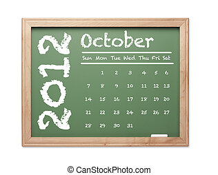 October 2012 Calendar on Green Chalkboard - Month of October...