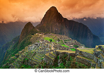 Signature shot of Machu Picchu - View of the Lost Incan City...