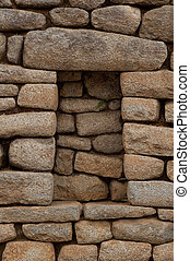 Detail of Inca Ruins at Machu Picchu - Incan style masonry...