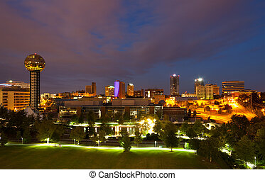 Knoxville at Night - View of Knoxville, Tennessee skyline,...
