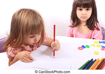 Little girls educational development - Two little preschool...