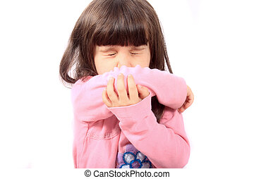 Sick child sneezing - Little sick girl sneezing onto her...