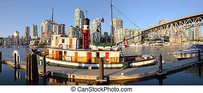 Granville island & Granville bridge at sunset BC Canada. - A...