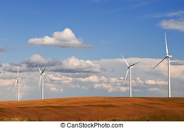 Wind turbines in the grain fields - Large wind turbines...
