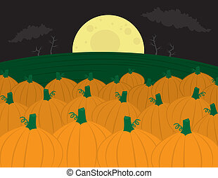 Pumpkin Patch - Pumpkin patch with large moon in the...