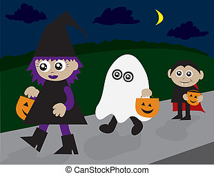 Trick or Treating - Trick or treaters walking on the...