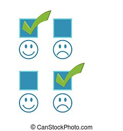 Happy and sad checkmark faces