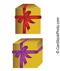 gift boxes bow tie on a white