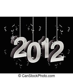 New year 2012 text ornament