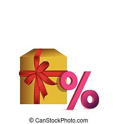 White gift box with discount sign