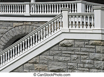 Old balustrade with stairs - Old balustrade with stair...