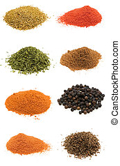 Selection of spices isolated on white