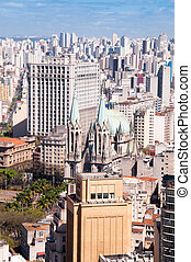Se Cathedral in Sao Paulo - Aerial View of Se Cathedral in...