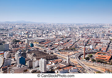 Municipal Market of Sao Paulo Brazil - Aerial view of...