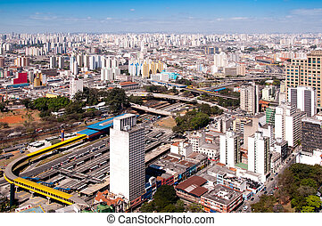 bus terminal in park Dom Pedro, Sao Paulo - aerial view of...