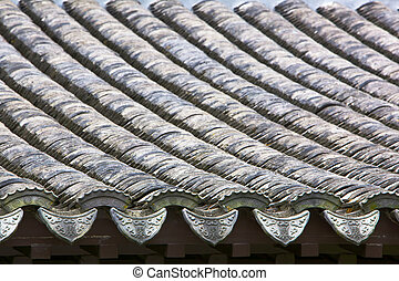 Close up chinese roof - Close up of a portion of and arched...